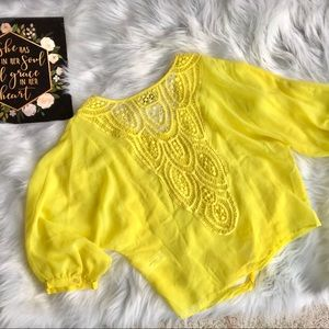 Buffalo David Bitton Shear Lace Yellow Summer Top